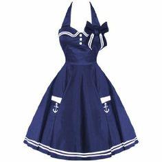 HELL BUNNY MOTLEY NEW NAVY VTG 50S RETRO NAUTICAL SAILOR ROCKABILLY PINUP DRESS: Amazon.co.uk: Clothing