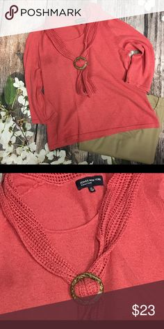 JONES New York Signature JONES New York Signature Sweater.  Worn three times.  Terrific coral color. Sweater is not heavy weight and is very comfortable!!  It is can be dressed down or worn in business setting!!  Size:XL Jones New York Sweaters Crew & Scoop Necks