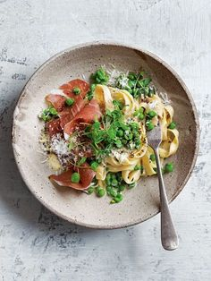This amazing pasta with peas and torn prosciutto is my new go-to for a quick and easy weeknight meal.