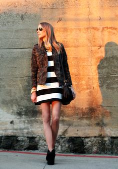 Fall Outfit black and white stripe dress camouflage jacket black booties