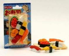 Iwako: Japanese Erasers Sushi Set by Iwako. $6.50. Iwako Japanese Sushi eraser set. Iwako Japanese Sushi eraser set includes a variety of 6 incredibly detailed sushi erasers. Words fail to describe how agonizingly cute these Japanese erasers are. How can your pencil box ever be the same without a tomago sushi piece waiting inside. Made of soft eraser rubber, these pieces are FUNCTIONAL as well as adorable.