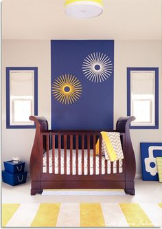 Navy and Yellow Boys Nursery Designed by Little Crown Interiors contemporary kids