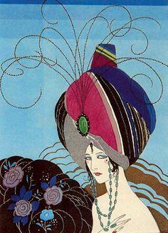 art deco illustration 'Phili or beyond good and evil' 1921 by Umberto Brunelleschi - Italy Mlle Art Vintage, Vintage Posters, Vintage Images, Art Nouveau, Art Deco Illustration, Inspiration Art, Italian Artist, Arabian Nights, Art Design