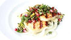 Honey and thyme haloumi with pickled fennel and pomegranate salsa recipe : SBS Food Food Styling, Pomegranate Recipes, Pomegranate Seeds, Sbs Food, Good Food, Yummy Food, Tasty, Midweek Meals, Halloumi