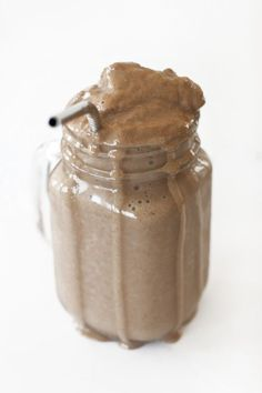 Tastes like a Chocolate Frosty, but it's healthy! 1 cup unsweetened almond milk, 1 frozen banana, 1 Tbsp cocoa powder, 1 tsp vanilla, 1/2 tsp chia seeds, 8-10 ice cubes.