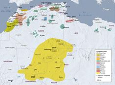 Les Berbères / The Berber people in Northern Africa, map created by Hugues Piolet for GEO Magazine