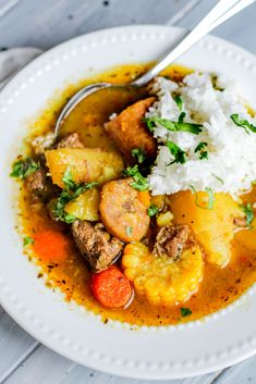 The Best Sancocho (Beef Stew) Recipe Puerto Rican Sancocho Recipe (Beef Stew) Instant Pot or Stovetop Mexican Food Recipes, Beef Recipes, Cooking Recipes, Healthy Recipes, Ethnic Recipes, Soup Recipes, Recipies, Healthy Lunches, Copycat Recipes
