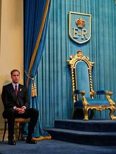 Prince William sits and waits before making a speech at Government House on the third and final day of his unofficial visit to Australia on January 21, 2010 in Melbourne, Australia. The blue in this photo is delicious.