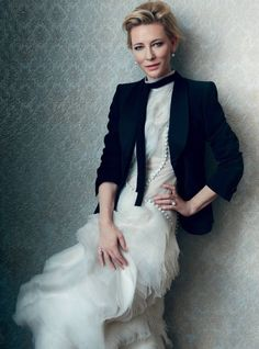 Cate Blanchett by Norman Jean Roy for Harper's Bazaar UK February 2016 - Armani, Erdem Cate Blanchett, Star Fashion, Fashion Beauty, Black And White Outfit, Norman Jean Roy, Francisco Jose, Look Blazer, Actrices Hollywood, Glamour