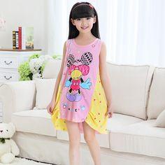 Girl Nightgowns Camisones Ropa de dormir Roupa de dormir Cotton Sleepwear Kids Nightdress Sleepwear Home Dress 2-10Y
