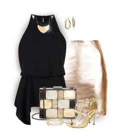 """""""Shine"""" by stileclassico ❤ liked on Polyvore featuring Topshop, Halston Heritage, Sondra Roberts, Dee Keller, Blue Nile, Forever 21, New Look, gold, black and skirt"""