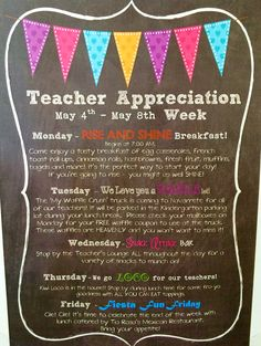 Today marks the FIRST day of Teacher Appreciation Week! Our PTO has LOTS of fun things in store all throughout the week for the te. Teacher Appreciation Breakfast, Teacher Appreciation Week, Teacher Gifts, Employee Appreciation, Teacher Stuff, Pta School, School Teacher, Future School, School Stuff