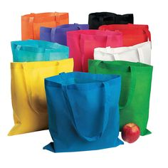 Tote Bag Assortment - OrientalTrading.com $35 for 50.  polyester, non-woven.  Event Giveaway?  run count? hare count? organizer/mm gift?  ...Personalize w Puffy paint + bling?