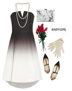 """Babygirl"" by cette-femme ❤ liked on Polyvore featuring Halston Heritage, Hanky Panky, Jimmy Choo, Balenciaga, cocktaildress, contestentry and promdoover"