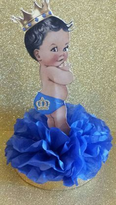 Royal Little Prince Blue and Gold Baby Table Decor centerpiece African American Black Baby Decor for baby shower or 1st Birthday