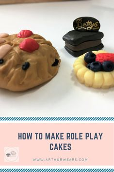 How to make role play cakes for an EYFS cafe and tearoom role play area  https://www.arthurwears.com/2018/05/bettys-cafe-tea-rooms-role-play-area.html  #eyfs #pretendfood #pretendcakes #roleplaycakes #bettyscakes #polymerclaycakes