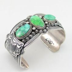 Vtg-Navajo-DARRYL-BECENTI-Sterling-Silver-Carico-Lake-Turquoise-Cuff-Bracelet-G