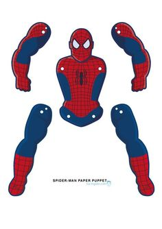 Spider-Man goes Jumping Jack Spider-man paper puppet Hero Crafts, Man Crafts, Family Crafts, Paper Puppets, Paper Toys, Fête Spider Man, Diy For Kids, Crafts For Kids, Disney Crafts