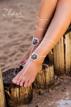 Light Beige Crochet Beaded Barefoot Sandals, Nude shoes, Foot jewelry,Wedding, Victorian Lace, Sexy, Anklet , Bellydance, Steampunk, Summer