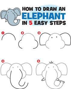 Download this FREE printable pdf to teach your classroom/child how to draw an elephant in 5 easy steps. www.kidscoop.com