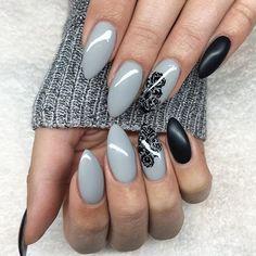 Awww pure-grey • black-matte #love #lovenails #nails2inspire #nailsoftheday #notd #nailsofinstagram #instanails #nailstagram #gdn #jolifin #gel #gelnails #nailart #nailartaddict #nailpromote #greynails #nailporn #just #girls #stamping #iphonesia