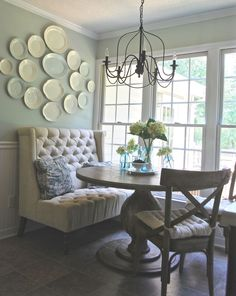 Blue...pillow!!   PlumPrettyDecorandDeign_BreakfastNook_WorldMarketTable