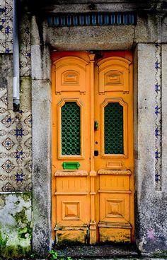 Orange doors with green grilled windows, Porto, Portugal Cool Doors, Unique Doors, Portal, Porte Cochere, Door Knockers, Door Knobs, Porches, When One Door Closes, Grand Entrance