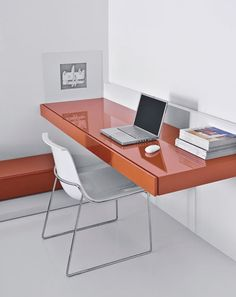 Wall-mounted desk.