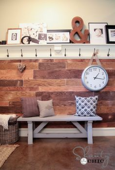 Plank Wall DIY *Kat says: next to harvesting a pile of 20 people's unwanted old fence boards, or hiring Hercules to dismantle pallets to make the plank wall financially feasible over here, THIS is THE BEST idea I've seen for making a plank wall a reality on the cheap! L-U-B love!