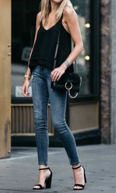 Nordstrom black camisole, denim ripped skinny jeans, steve madden ca Block Heels Outfit, Casual Heels Outfit, Heels Outfits, Mode Outfits, Casual Outfits, Fashion Outfits, Black Sandals Outfit, Dress Casual, Summer Outfits