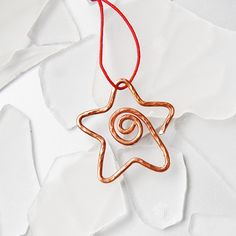 Star copper Christmas ornament or everyday ornament small