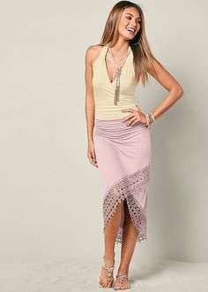 LACE SURPLICE MIDI SKIRT, LACE BACK SURPLICE TOP, SEA SHELL DETAIL SANDAL, BEADED NECKLACE WITH TASSEL
