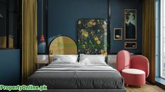 Colorful Bedroom Designs & Ideas Arty Bedroom, Bedroom Red, Modern Bedroom, Feature Wall Bedroom, Bedroom Wall Colors, Minimalist Bed, Interior Stairs, Luxury Homes Interior, Home Decor Inspiration