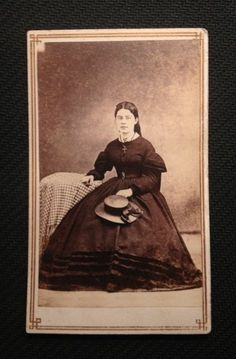 CDV Civil War Period, Seated young woman with a hat and wearing a cross necklace