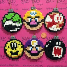 Mario Christmas bauble set Hama perler beads by Zo Zo Tings perler,hama,square pegboard,video games,nintendo, super mario bros,