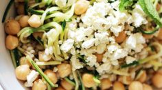 Chickpea, Barley and Zucchini Ribbon Salad with Mint and Feta