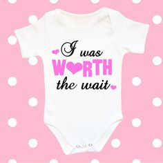 I was worth the wait baby bodysuit, funny baby clothes, newborn baby girl clothes worth the wait baby, coming home outfit, going home outfit by CrazyBabyFashion on Etsy