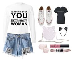 """""""Dangerous woman tour outfit"""" by emilyharwoodx on Polyvore featuring Converse, Maison Close, MAC Cosmetics and Maybelline"""