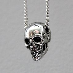 * Human Skull Pendant Necklace in Solid White Bronze ~by Moon Raven Designs *