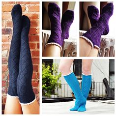 diamond in the ruffle cable knit over the knee socks knitting pattern collage
