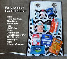 Fully Loaded Car Organizer!  Chevron Print by ashleyNEF Great gift idea for a college student, new driver... or any driver for that matter :)  $60.00