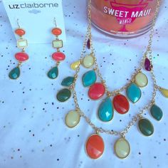 NWT JEWELRY SET Very colorful & summery. This set includes necklace & earrings. The necklace is about 22 inches & the earrings are 3 inches. NO PP NO TRADES❌NO JCREW❌ Bundle 2 or more listings for 15% off. Liz Claiborne Jewelry