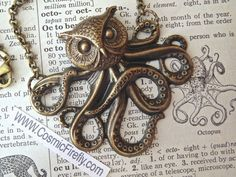 Owl Octopus Necklace Victorian Monster The Owlctopus Half Owl Half Octopus Rustic Brass Rolo Chain Original Design Gothic Steampunk Necklace by CosmicFirefly on Etsy https://www.etsy.com/uk/listing/75065650/owl-octopus-necklace-victorian-monster