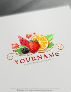 Free Fruit Logo Maker Online Fruits logo making never been easier. Create Your Own Online Fruit Logo Design Ideas instantly with the best free logo maker. Fruitlogo Design your own Fruits Logo Ideas strawberrylogo 583497695454555862 Free Logo Creator, Online Logo Creator, Food Logo Design, Logo Food, Logo Fruit, Juice Logo, Food Template, Free Fruit, Free Design