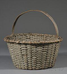 Blue-painted Woven Splint Basket