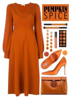 """""""Pumpkin Spice"""" by amchavesj-1 ❤ liked on Polyvore featuring Sergio Rossi, Tory Burch, Chloé, Lancôme, SkinCare, ULTA, Smith & Cult, Zelens, Rebecca de Ravenel and pumpkinspice"""