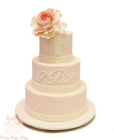 Cabbage Rose Christening Cake by Pink Cake Box in Denville, NJ. Pink Christening Cake, Christening Cakes, Pastries Images, Vintage Baptism, Pink Cake Box, Religious Cakes, First Communion Cakes, Cabbage Roses, Cupcake Cakes