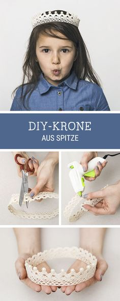 Einfache DIY-Idee für Fasching und Karneval: Krone aus Spitze selbermachen / easy diy tutorial for carnival: princess crown made of laces via DaWanda.com