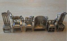 Unique Antique Dutch Silver Charm Bracelet with 6 Chairs