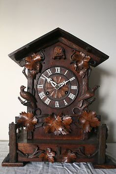 19th, CENTURY BLACK FOREST OAK CASE DOUBLE FUSEE BRACKET CUCKOO CLOCK #antiquecuckooclock